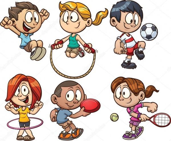 Crianças Desenhos Animados Brincando — Vetores De Stock