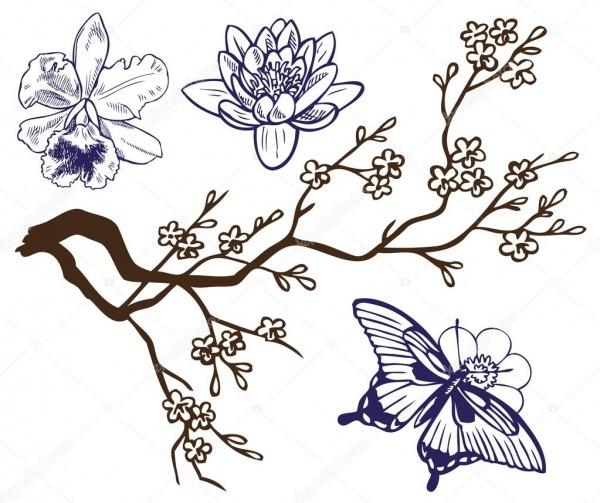 Desenho De Ramo Com Flores E Borboletas — Vetores De Stock