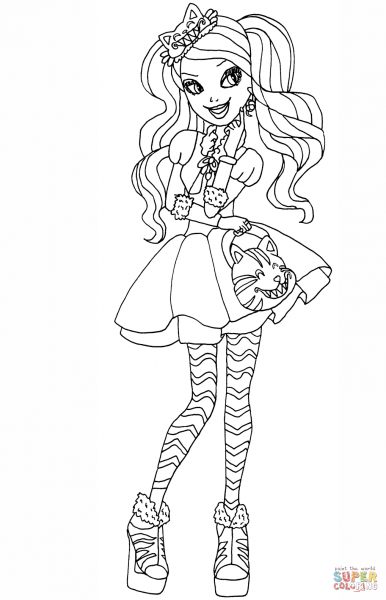 Ever After High Coloring Pages Kitty Cheshire Page Free Printable