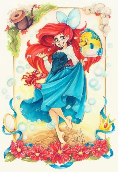 Resultado De Imagem Para Desenhos Da Ariel Coloridos