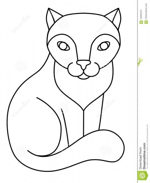 Gato Gato De Assento, A Lápis Desenho Para Colorir Ilustração Do