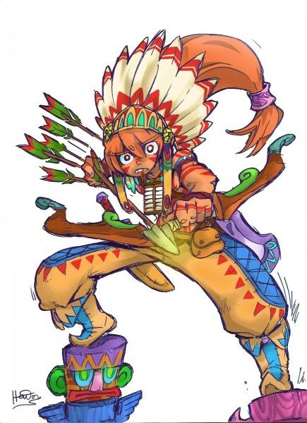 Desenho De Indio Colorido