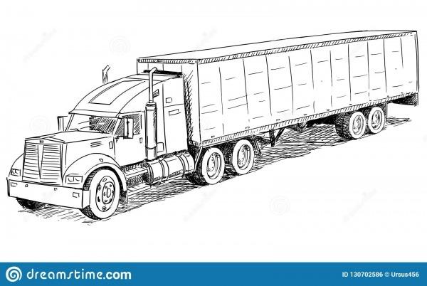 Ilustração Do Desenho De Esboço Do Vetor Do Caminhão Ilustração Do