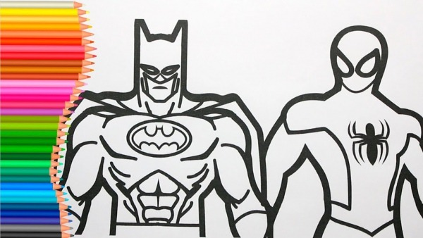 Colorindo Batman Vs Homem Aranha Coloring Pages For Kids