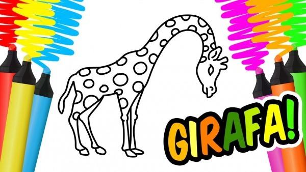 Como Desenhar E Colorir Uma Girafa, Bolo E Brinquedos De Praia