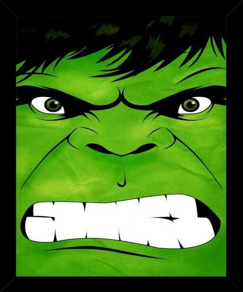 Quadro Hulk Desenho Rosto Tamanho 35x25cm Vidro Moldura
