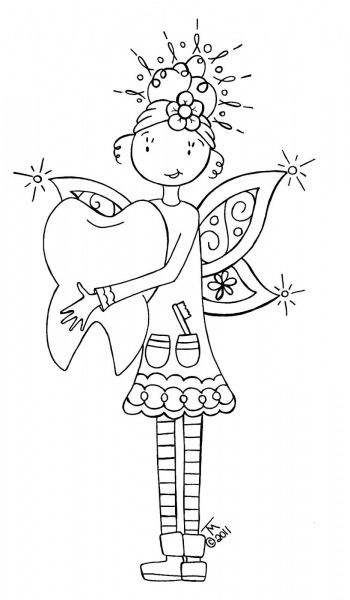 Tooth Fairy, Colour It, Sew It, Trace It, Etc  Free