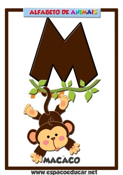 Alfabeto De Animais  Cartaz Com A Letra M, Do Macaco!