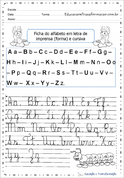 Ficha Do Alfabeto Maiúsculo E Minúsculo Com Letras Cursivas