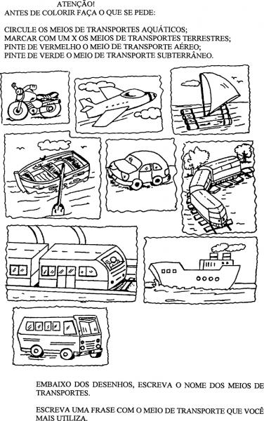 Meios De Transporte Terrestre Para Colorir