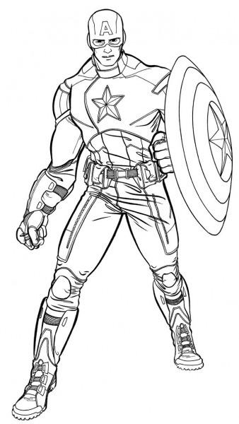 Capitão América Para Colorir E Imprimir