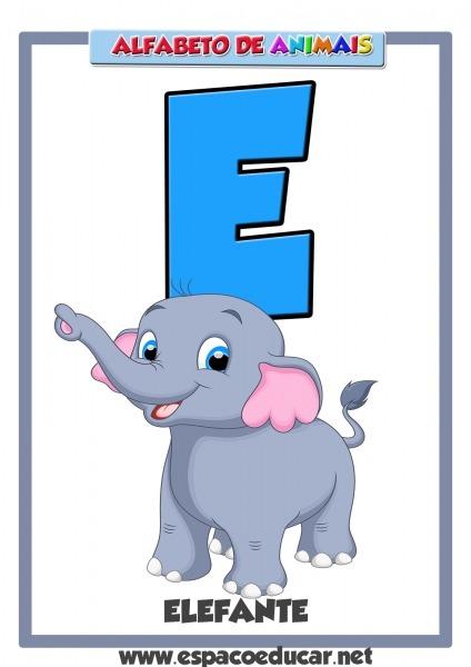 Lindo Alfabeto De Animais Grátis Para Você Imprimir! Letra E Do
