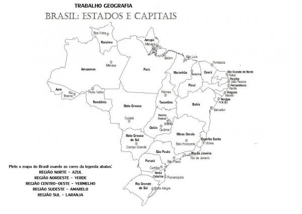 Mapa Do Brasil Estados E Capitais Para Colorir