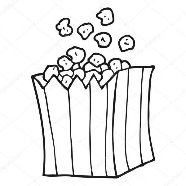 Pipoca De Preto E Branco Dos Desenhos Animados — Vetores De Stock