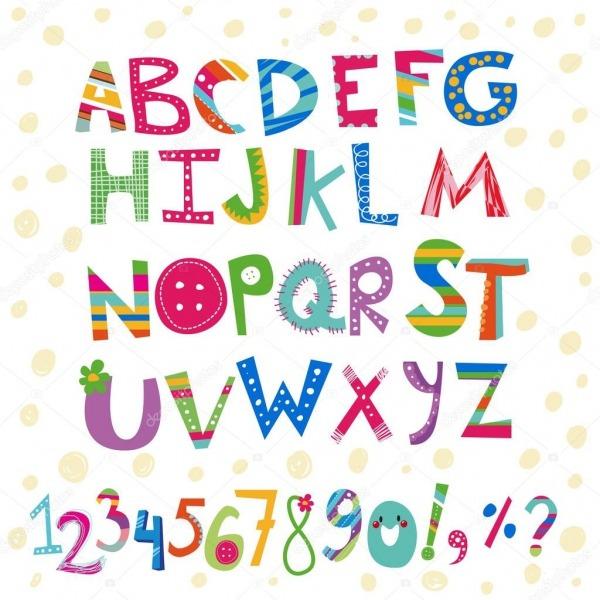 Alfabeto De Cor Infantil De Desenhos Animados — Vetores De Stock
