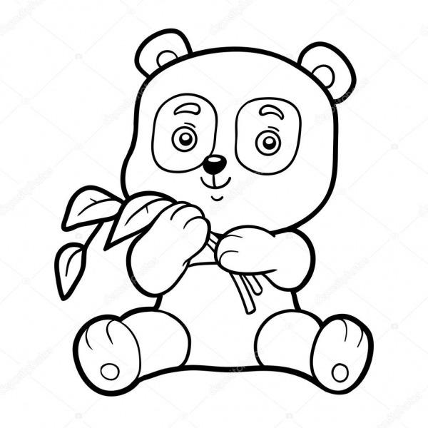 Livro De Colorir Para Chilren, Pequeno Panda — Vetores De Stock