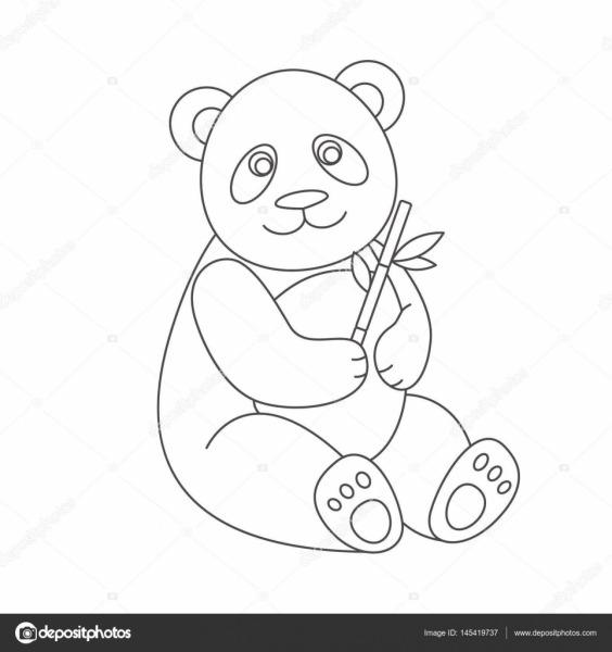 Panda Para Colorir Livro — Vetores De Stock © Romalka  145419737