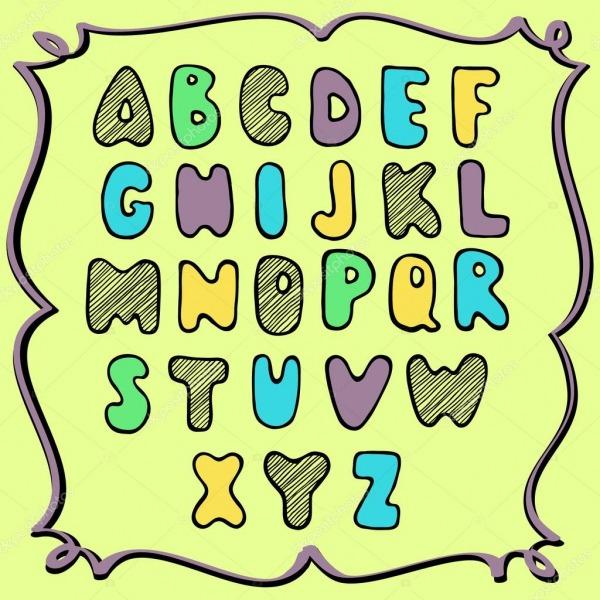 Alfabeto Colorido De Mão Desenhado, Desenho Infantil — Vetores De