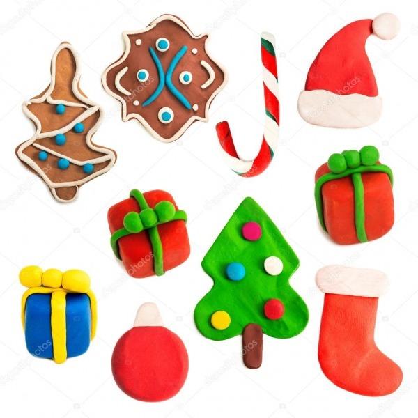 Figuras De Natal Colorido Feitas De Plasticina — Stock Photo