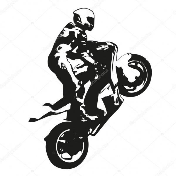 Moto Corrida Vetor Desenho Silhueta, Wheelie — Vetores De Stock