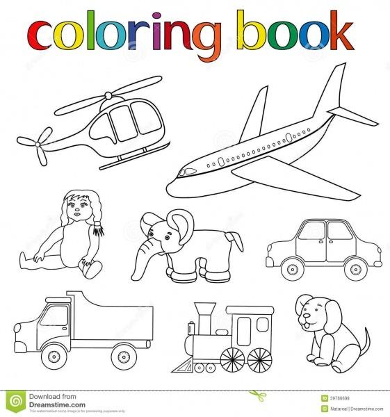 Grupo De Vários Brinquedos Para O Livro Para Colorir Ilustração Do