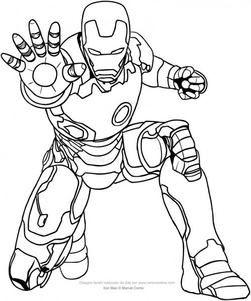 Desenho De Homem De Ferro Para Colorir Que Emana Rayos Repulsivos