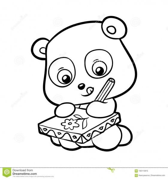 Livro Para Colorir, Panda Ilustração Do Vetor  Ilustração De Preto
