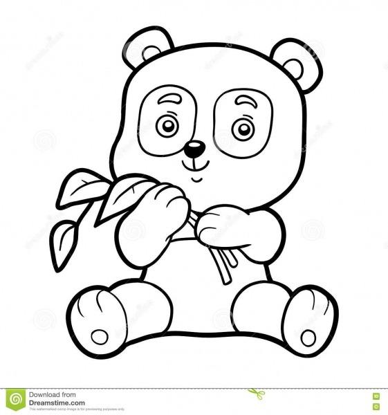 Livro Para Colorir Para Crianças, Panda Pequena Ilustração Do