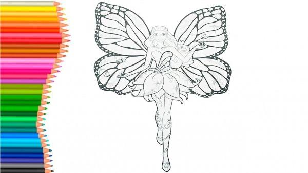 Colorindo Barbie Butterfly, Bicicleta E AviÃo Nas Nuvens