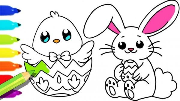 Desenhos Para Colorir Colorindo O Desenho Do Pintinho E Coelhinho