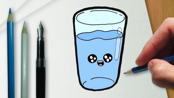 Como Desenhar Um Copo Com água Kawaii