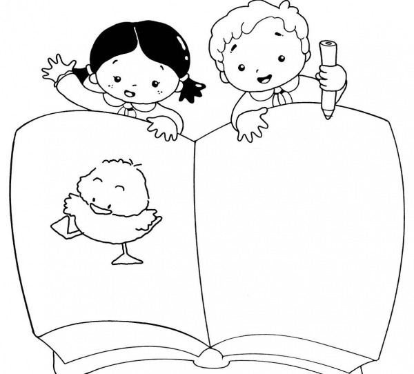 Desenho De Meninos E Dia Do Livro Infantil Para Colorir