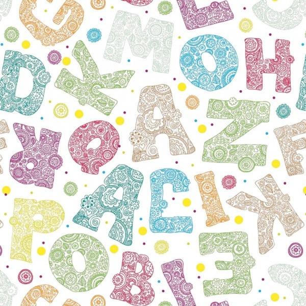 Papel De Parede Letras Do Alfabeto Colorido Infantil No Elo7