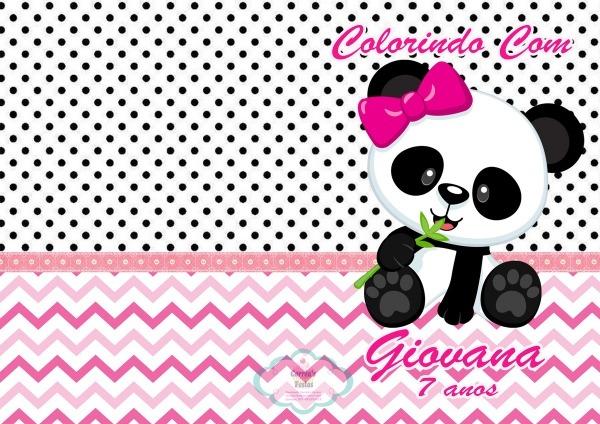 Revistinha De Colorir Panda Rosa No Elo7