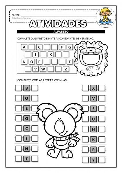 Alfabetização  Alfabeto, Letra Inicial Dos Desenhos E Consoantes