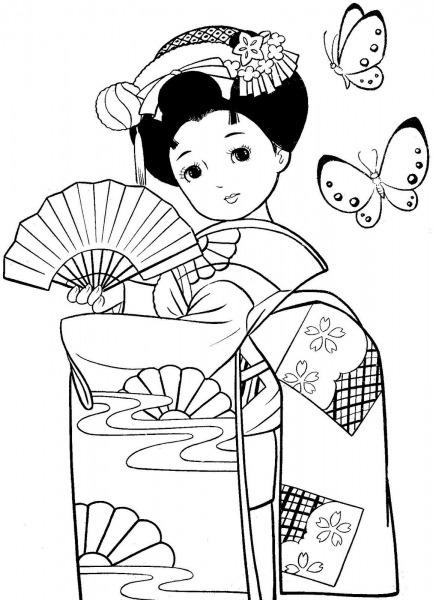 Maravilhosas Meninas Japonesas Com Kimonos Para Colorir
