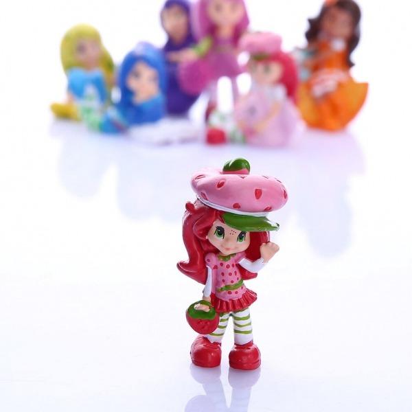 7 Pcs Moranguinho Queque Bolo Toppers Figura Pvc Boneca Mini