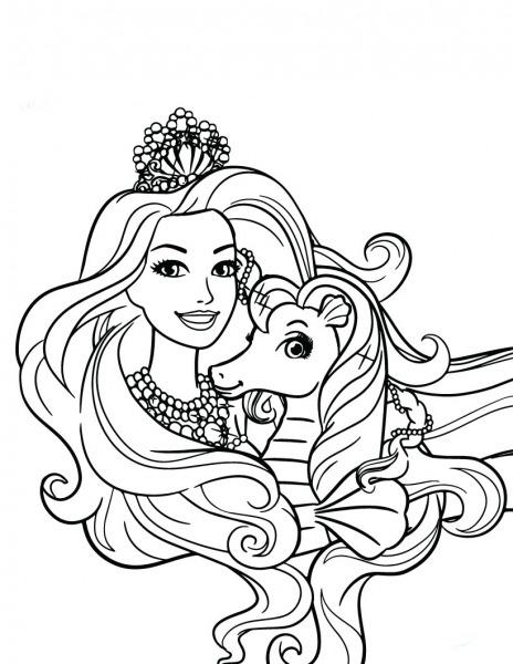 Desenho De Barbie E Pônei Para Colorir