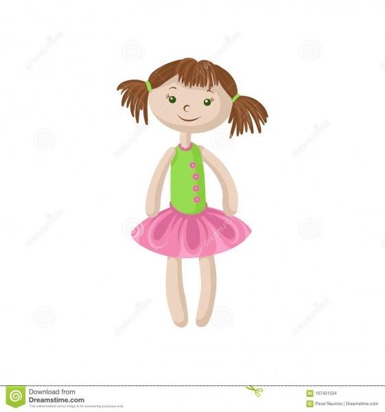Boneca Macia Bonito Com O Cabelo Marrom, Costurando A Ilustração