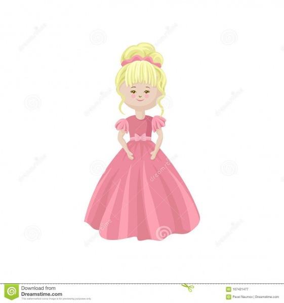 Boneca Macia Loura Bonita Da Princesa Em Um Vestido Cor
