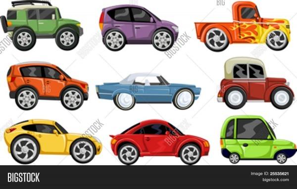 Conjunto De Nove Carros Coloridos Dos Desenhos Animados Bancos De