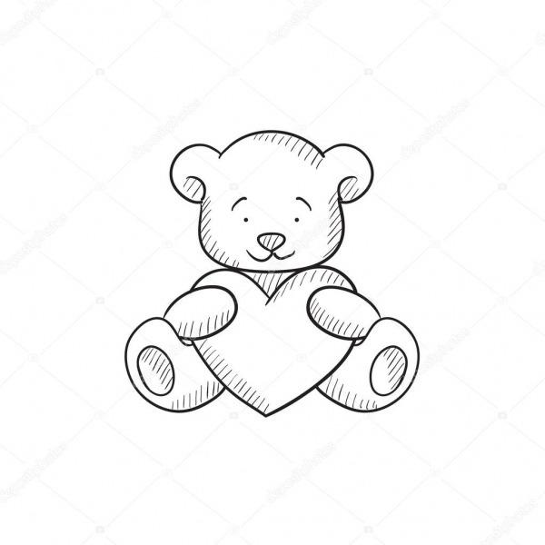Urso De Pelúcia Com O ícone De Desenho De Coração — Vetores De