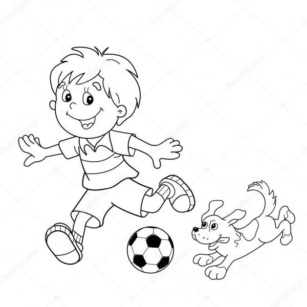 Colorir Página Contorno Dos Desenhos Animados Menino Com Bola De