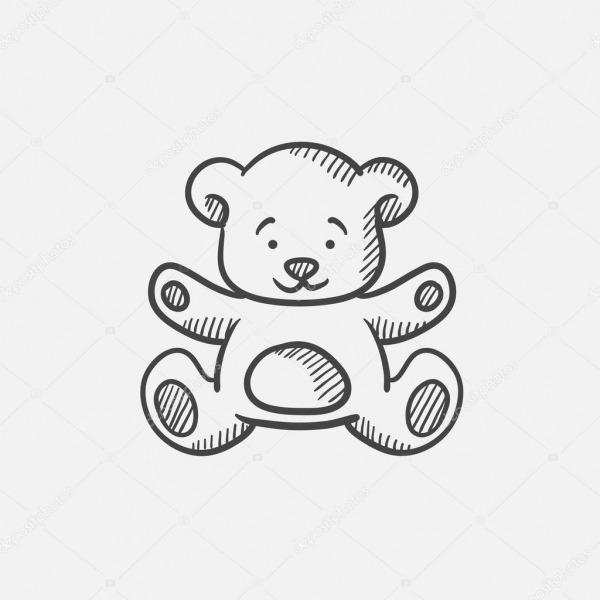Ícone De Desenho De Ursinho De Pelúcia — Vetores De Stock