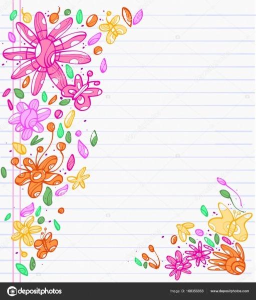 Desenhos Coloridos De Folhas, Flores E Borboleta — Vetores De