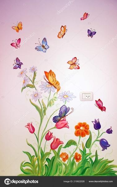 Borboletas Coloridas Voam Sobre Flores Desenho Parede Quarto Das