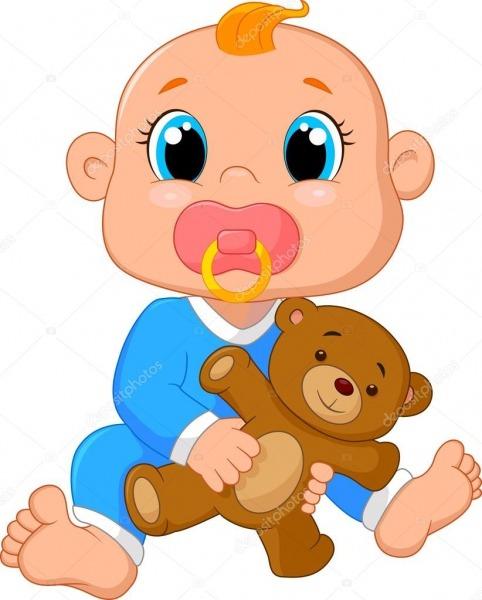 Desenhos Animados De Bebê Segurando Um Ursinho De Pelúcia