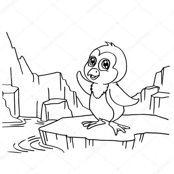 Pinguins Para Colorir Páginas Vector — Vetores De Stock
