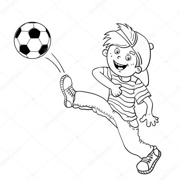 Colorir Página Contorno De Um Menino Chutando Uma Bola De Futebol