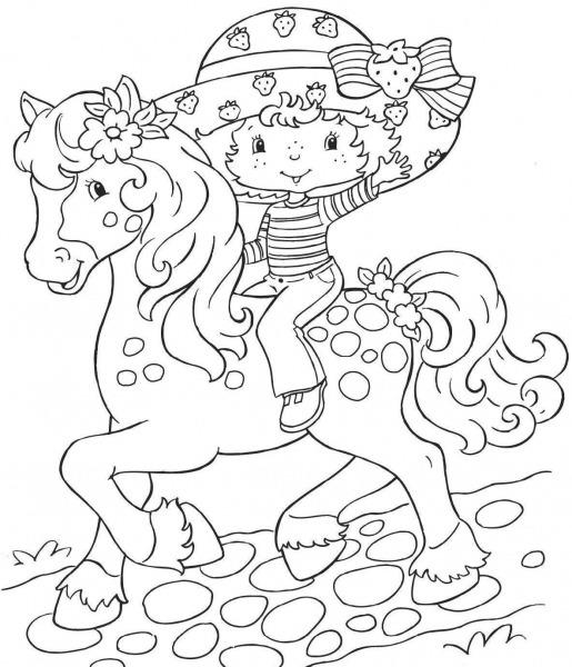 Desenho De Moranguinho A Cavalo Para Colorir – Free Coloring Pages